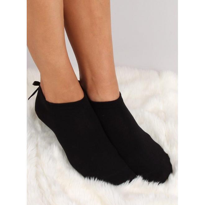 Dámske krátke ponožky s mašľou a perlou vzadu v čiernej farbe