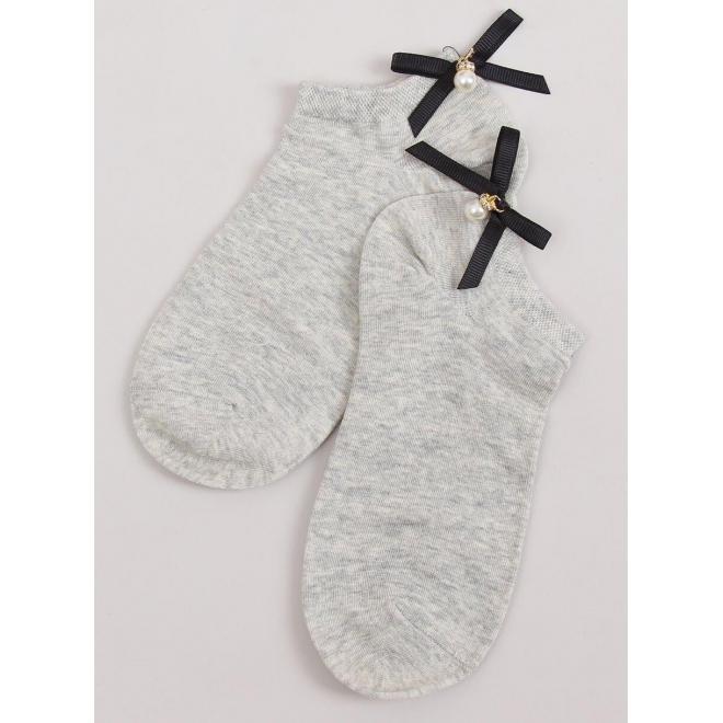 Sivé krátke ponožky s mašľou a perlou vzadu pre dámy