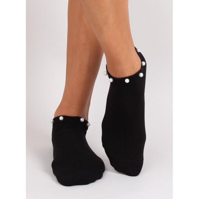 Dámske krátke ponožky s perlami v čiernej farbe