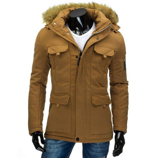 Pánska zimná bunda tmavomodrej farby s odopínateľnou kapucňou