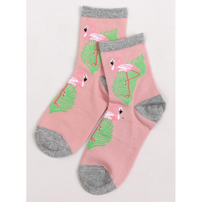 Vysoké dámske ponožky ružovej farby s plameniakmi