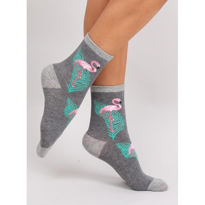 Tmavosivé vysoké ponožky s plameniakmi pre dámy