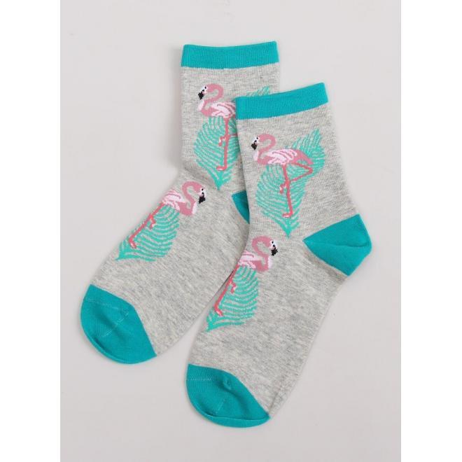 Vysoké dámske ponožky sivej farby s plameniakmi