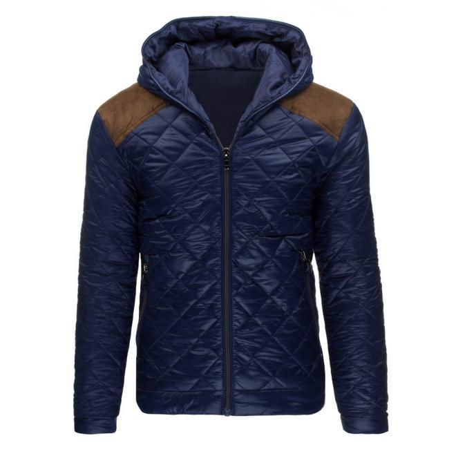Zimná prešívaná bunda pre pánov v tmavomodrej farbe