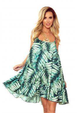 Voľné dámske šaty zelenej farby s motívom listov