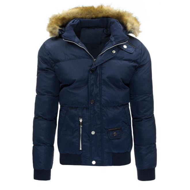 Pánska zimná bunda s odopínateľnou kapucňou v tmavomodrej farbe