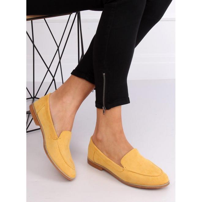 Dámske semišové mokasíny v žltej farbe