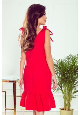 Dámske módne šaty s mašľami na ramenách v červenej farbe