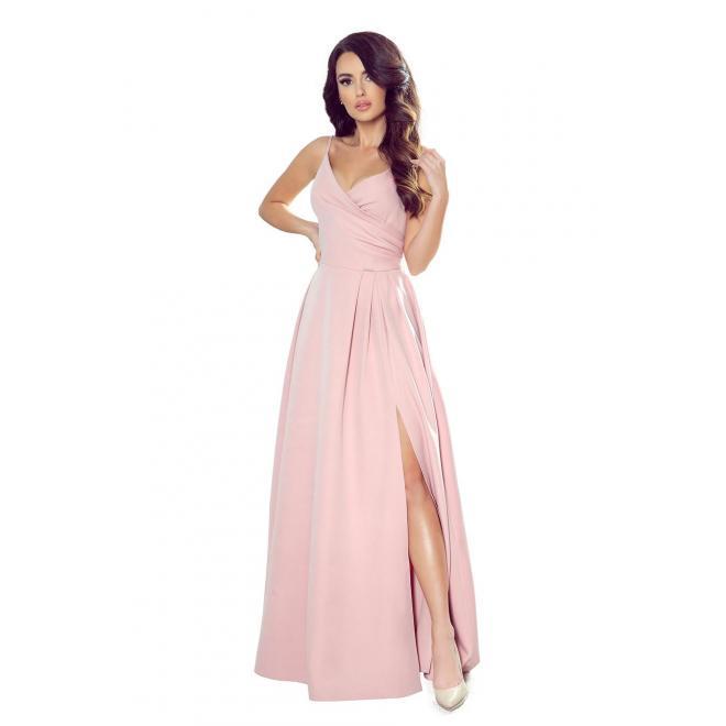 Maxi dámske šaty práškovo ružovej farby na ramienka