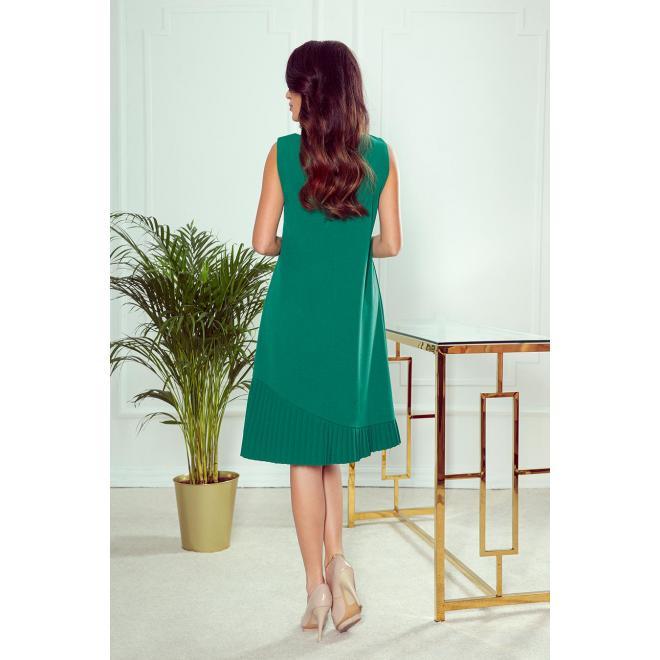 Zelené lichobežníkové šaty s asymetrickým plisovaním pre dámy