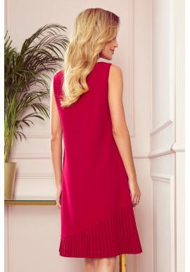 Dámske lichobežníkové šaty s asymetrickým plisovaním v červenej farbe