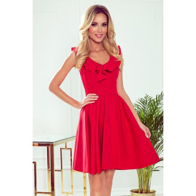 Rozšírené dámske šaty červenej farby s volánmi na výstrihu
