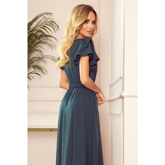 Dámske dlhé šaty s volánmi na ramenách v zelenej farbe