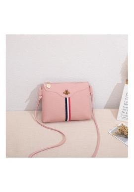 Dámska mini kabelka s kontrastným pásom v ružovej farbe