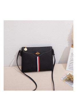 Mini dámska kabelka čiernej farby s kontrastným pásom
