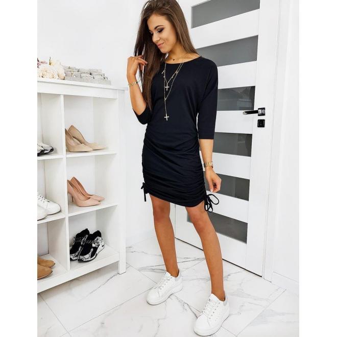 Čierne módne šaty 2 v 1 s 3/4 rukávom pre dámy
