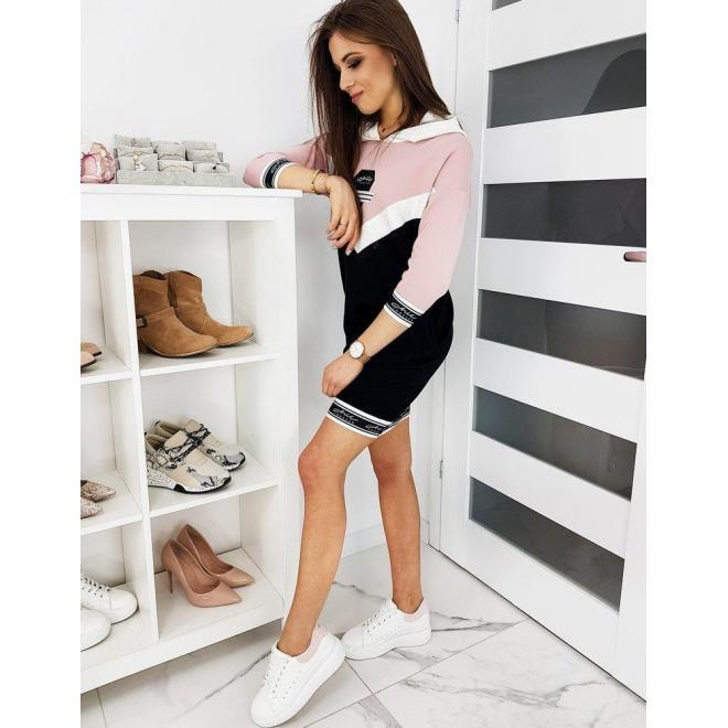 Ružovo-čierne športové šaty s potlačou pre dámy
