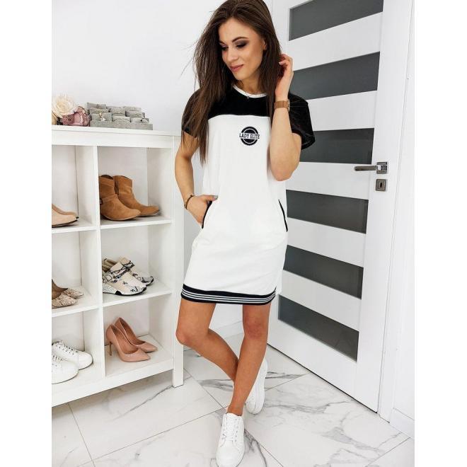 Teplákové dámske šaty bielej farby s krátkym rukávom