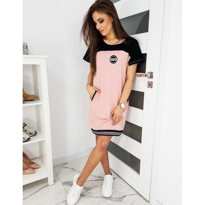 Ružové teplákové šaty s krátkym rukávom pre dámy