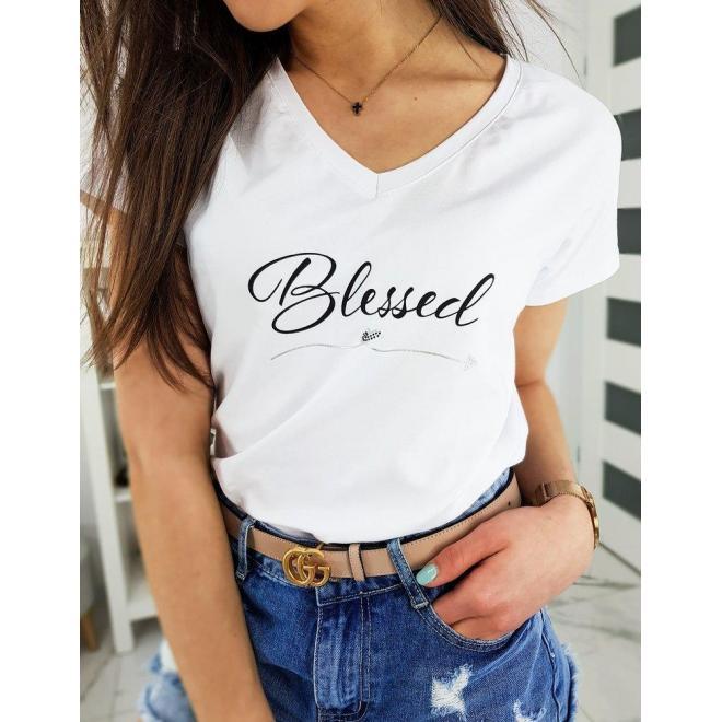 Módne dámske tričko bielej farby s nápisom Blessed