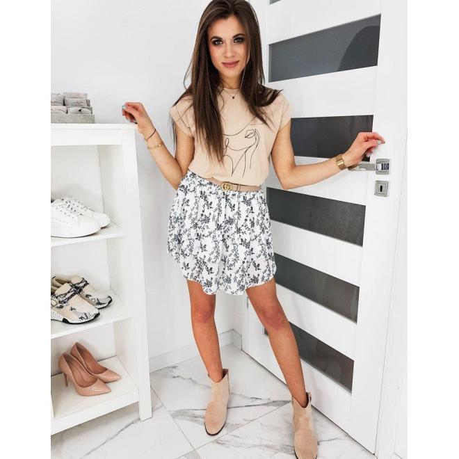 Dámska kvetovaná sukňa s volánmi v bielej farbe