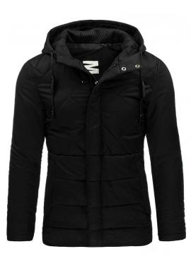 Tmavomodrá pánska bunda na zimu s kapucňou
