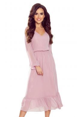 Šifónové dámske šaty staroružovej farby s volánom