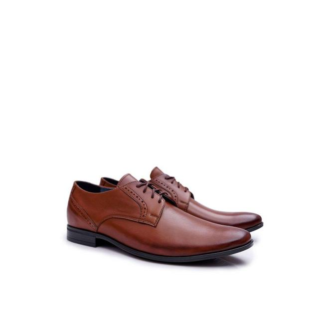 Hnedé elegantné kožené poltopánky pre pánov
