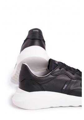 Čierne kožené športové tenisky pre pánov