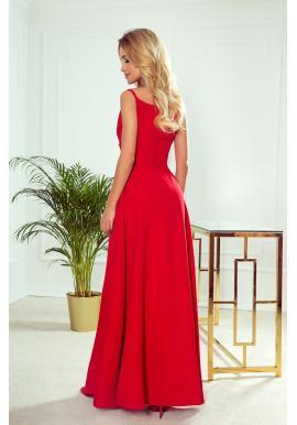 Červené maxi šaty na ramienka pre dámy