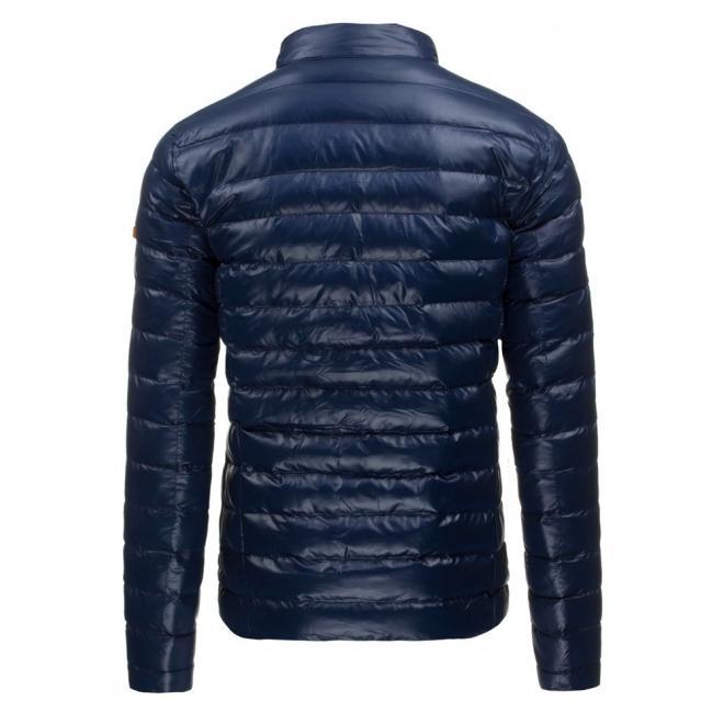Pánska svetlohnedá bunda na zimu s čiernymi detailami