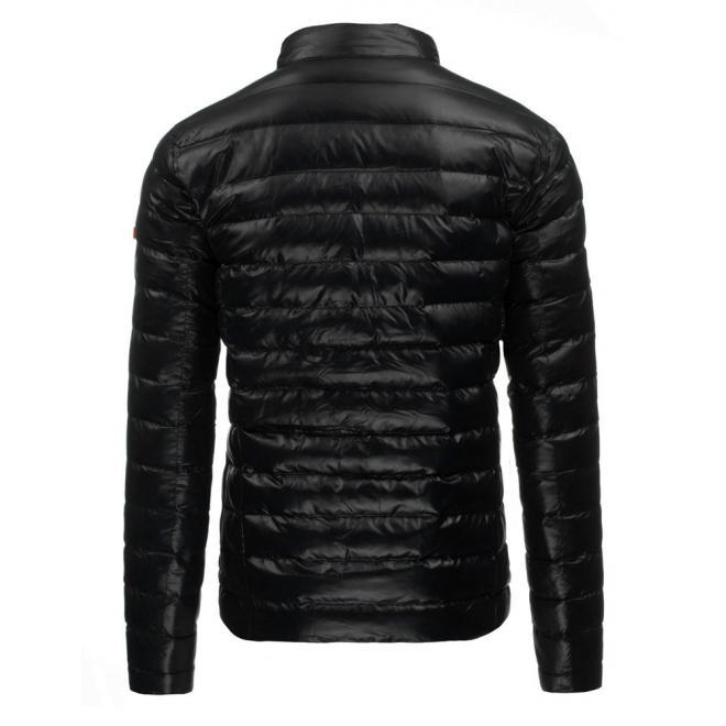 Prešívaná pánska bunda na zimu v tmavomodrej farbe