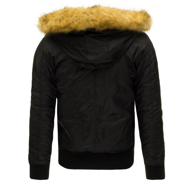 Pánska bunda Pilotka v čiernej farbe s kapucňou