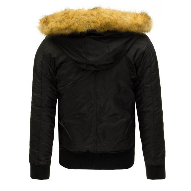 Bunda Pilotka na zimu v čiernej farbe pre pánov