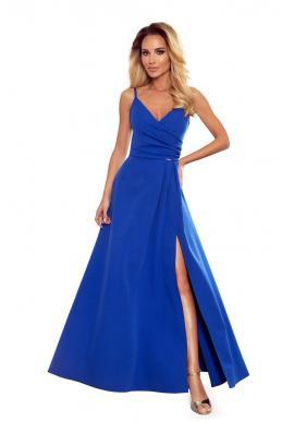 Dámske maxi šaty na ramienka v modrej farbe