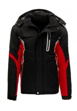 Pánska lyžiarska bunda s reflexnými prvkami v červenej farbe