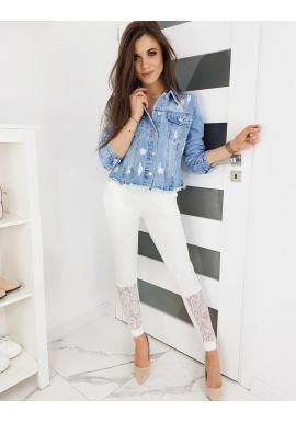 Teplákové dámske nohavice bielej farby s čipkou