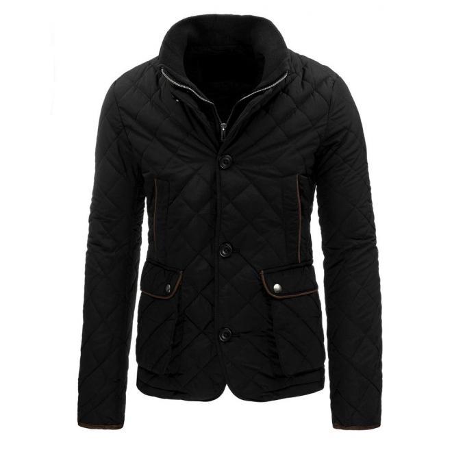 Prešívaná tmavomodrá bunda pre pánov so záplatami