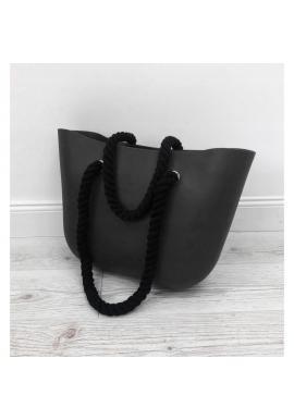 Silikónová dámska kabelka čiernej farby s čiernymi rúčkami