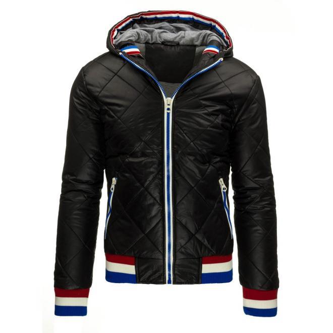 Čierna pánska bunda Parka s kapucňou na zimu