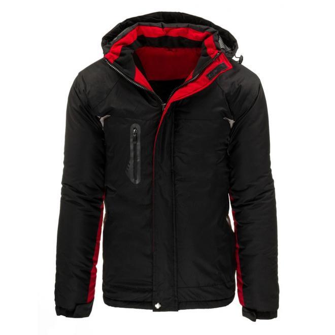 Prešívaná čierna bunda pre pánov s kontrastnými detailami