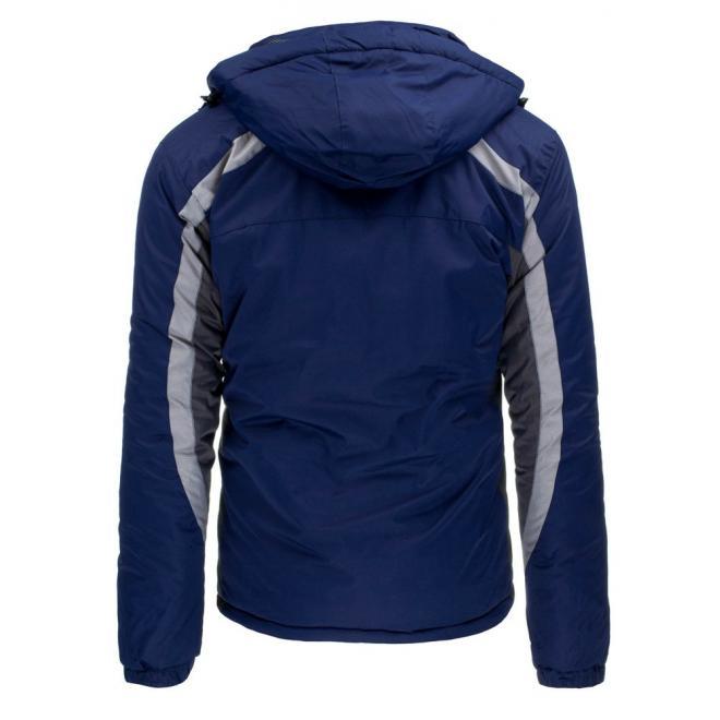 Pánska lyžiarska bunda modrej farby na zimu
