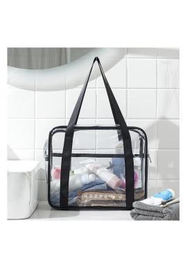 Dámska priehľadná kozmetická taška v čiernej farbe