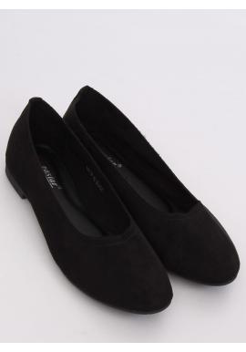 Semišové dámske balerínky čiernej farby