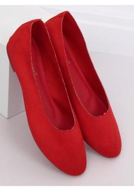 Semišové dámske balerínky červenej farby