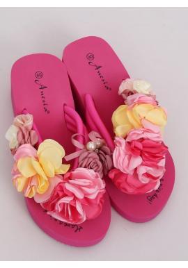 Dámske kvetované žabky s penovou podrážkou v ružovej farbe
