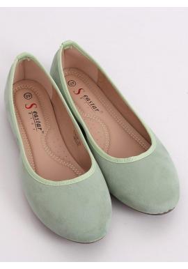 Dámske semišové balerínky s okrúhlymi špičkami v zelenej farbe