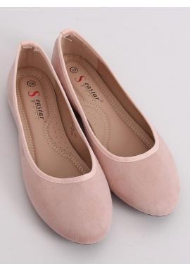 Ružové semišové balerínky s okrúhlymi špičkami pre dámy