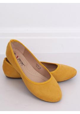 Semišové dámske balerínky žltej farby s okrúhlymi špičkami