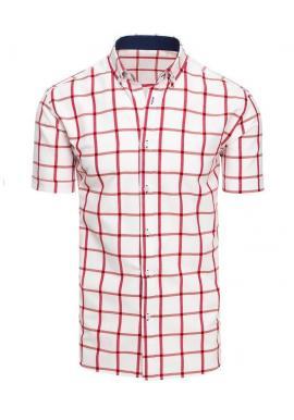 Kockovaná pánska košeľa bielej farby s krátkym rukávom